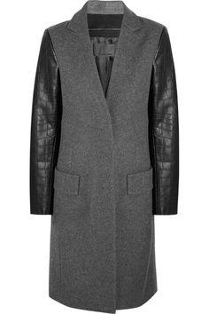 Alexander Wang wool-blend leather coat #DesignerSpotlight #AlexanderWang