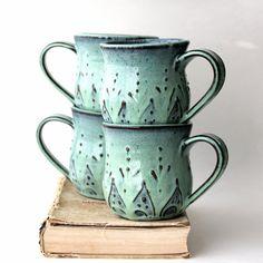 Mediterranean Ceramic Coffee Cup Mug - Set of 4 - Aqua Mist French Country Dinnerware - Hand Thrown OOAK - Made to Order