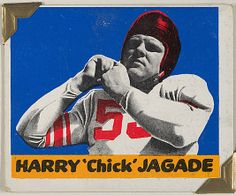 "Leaf Gum, Co., Chicago, IL. Harry ""Chick"" Jagade, from the All-Star Football series (R401-2), issued by Leaf Gum Company, 1948. The Metropolitan Museum of Art, New York. The Jefferson R. Burdick Collection, Gift of Jefferson R. Burdick (Burdick 326, R401-2.71) #MetGridironGreats"