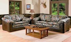 cabin, living rooms, couch, camo, deer hunting, hous, den furniture, living room furniture, man caves