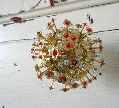 Vintage Christmas Ornament Mid Century Sputnik Handmade Beads Sequins.