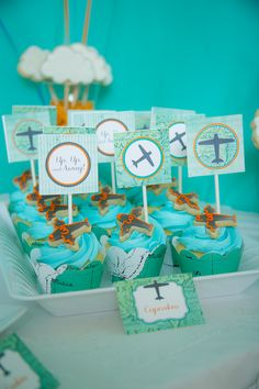 Cupcakes ideales para una fiesta aviones / Ideal cupcakes for an airplane party