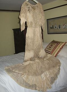 Antique Lace and Silk Wedding Dress from late 19th c.
