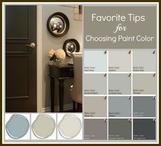 Tips & Tricks to Choosing the Perfect Paint Color.   Photos of rooms with exact brand and paint color name.