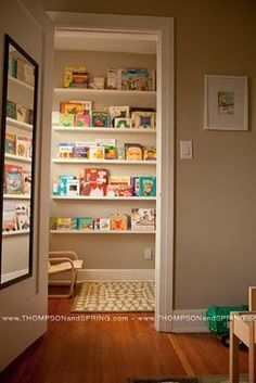 Closet made into a reading nook