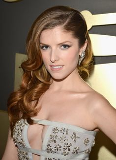 Anna Kendrick cleavage in strapless, open cut, tight fitting, dress