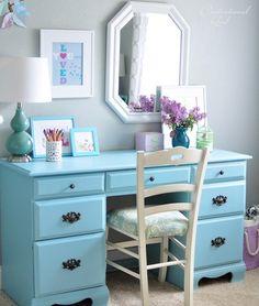styled blue desk - Centsational Girl