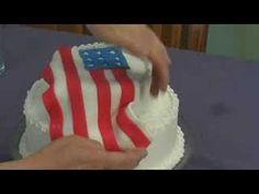 Fourth of July Cake : Fourth of July Cake: Adding Fondant Flag to Cake