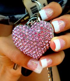 heart, wedding nails, french manicures, chain, nail designs, acrylics, glitter nails, french tips, key
