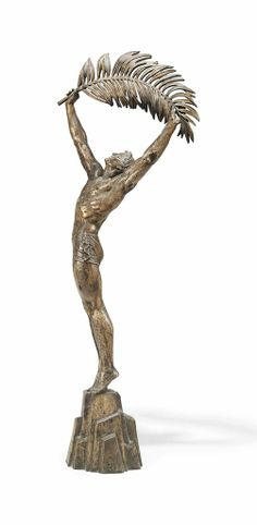 A LARGE STANDING SILVERED BRONZE FIGURE BY PIERRE LE FAGUAYS, CIRCA 1930