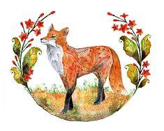 fox garden art, art prints, garden fox, animal prints, tattoo, foxes, anim art, fox art, red fox