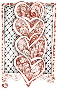 Zentangle® hearts, by Carole Ohl.
