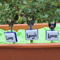 Fused Glass Garden Markers  Live Laugh Love by IntentionalGlass, $24.00