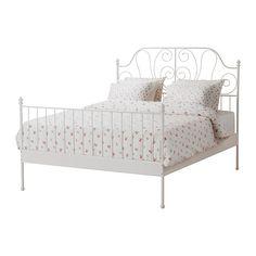LEIRVIKBed frame with slatted bed base, white white 160x200 cm