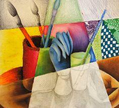 draw mix, art museum, artworks, art lesson, school art, mixed media, 3d art, yiman1 art, mix media