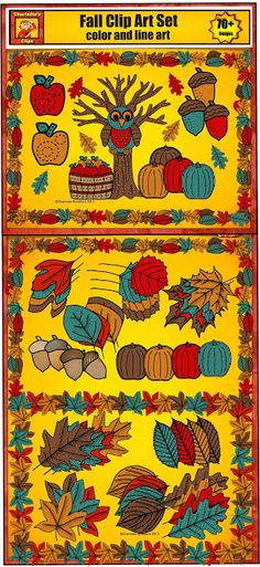 Fall Clip Art set includes leaves, tree, apples, basket of apples, pumpkins, acorns, and frames from Charlotte's Clips