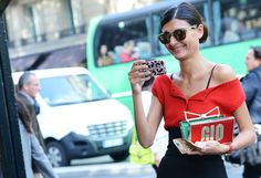 Giovanna Battaglia wearing the Carrera by Jimmy Choo sunglasses
