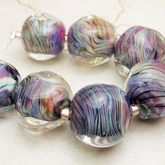 SRA Lampwork Glass Bead Set Organic by StoneDesignsbySheila, $55.00