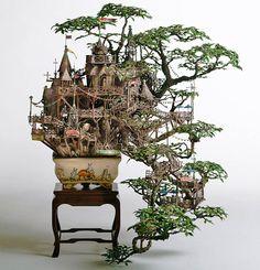 japanese treehouse, fairy garden bonsai, bonsai trees, bonsai treehouse, house sculpture, tree houses, plant art, maze garden, bonsai art