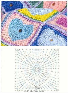 FIFIA CROCHETA blog de crochê : quadradinho de crochê coração com gráfico