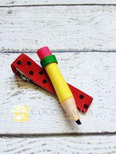 Pencil Back To SCHOOL Hair Clip Boutique Clippie by cococamila, $4.00