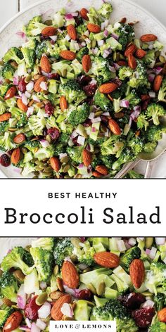 This healthy broccoli salad is one of our all-time favorite party dishes! It's great for making ahead, as the flavors develop over time. Plus, it's SUPER easy to make, and it's full of yummy sweet, salty, crisp, and tangy components. | Love and Lemons #salad #sidedish #broccolisalad #broccoli
