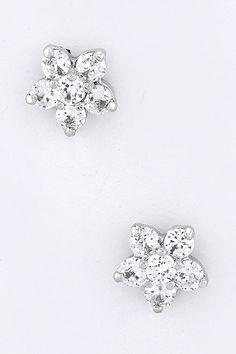 white gold flower earrings <3
