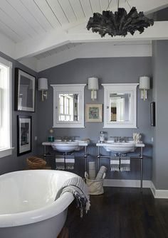 love this color combo, with the dark floors, white trim, and gray walls