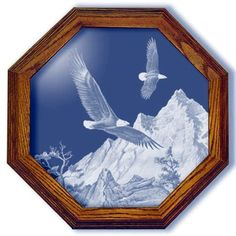 Soaring Peaks Eagle Art Etched Large Octagon Mirror