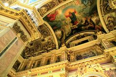 Interior of St. Isaac's Cathedral, which is covered in 220lbs of gold! St. Petersburg, Russia