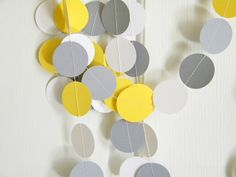 Yellow White Gray Grey Party Decoration Garland Baby or Bridal Shower 10 feet. $10.00, via Etsy.