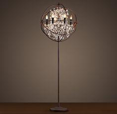 Foucault's Iron Orb Crystal Floor Lamp Rustic Iron
