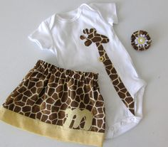 3 piece outfit Baby, girls brown, yellow giraffe skirt with personalized initial, shirt with long, lean giraffe applique, bow - size NB - 12. $50.00, via Etsy.