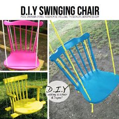 DIY Swinging chair - this is what i want to do with that old chair that the legs are too short on because my husband's grandfather (for some  unknown reason) cut the legs off.