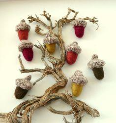 8 Magic brown wool Acorns Birhday Weddings favor by astashtoys, $16.00