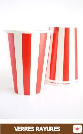 gobelets carton à rayures rouge #cirque #circus #red #cup #goblets #stripes #rouge #party #partysupplies #partysupplieshop #tableware #gobelet #verre