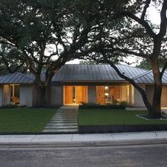 mid century modern, roof, house exteriors, ranch homes, metal, exterior lighting, curb appeal, walkway, ranch style homes