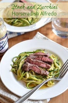 Steak and Zucchini Horseradish Alfredo---no horseradish please and thank you but yum
