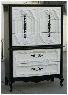 Vintage Refurbished Black & White Hollywood Regency Tallboy Dresser.