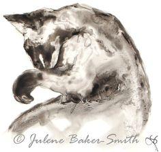 The Bath Kitty Cat Fine Art Print by ArtByJulene on Etsy, $15.00