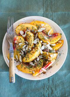 Peach + Rosemary Fruit Salad