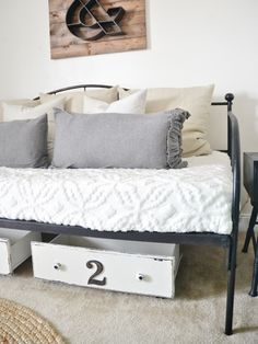 old drawers, offic, recycled beds, bed storage, bed drawer