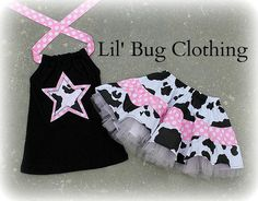 Custom Boutique Country Cowgirl  Cow Light  Pink Dots Western Tulle Skirt and top.