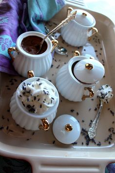 Chocolate Lavendar pots of kefir creme