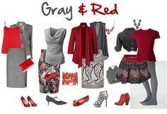 How to wear gray – choose color combinations and ensembles - One color that is great with gray is red!   40plusstyle.com