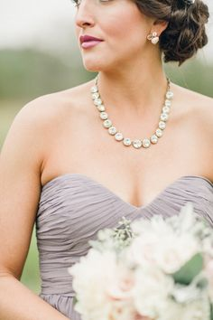 Gorgeous jewelry to complement our Morgan dress in #GreyRidge | Justin & Mary Photography via @sharon murphy Weddings Magazine