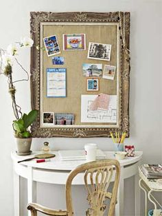 Empty frames offer endless potential. To turn one into a posh bulletin board, cut a piece of foam core to fit and wrap it in burlap.    Read more: Affordable Decorating Ideas - Inexpensive Design Ideas - Country Living