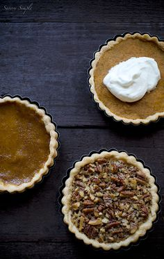 Thanksgiving Pie Tarts - Individual pumpkin pie, pecan pie and sweet potato pie tarts that will each serve 1-4 people. This is a fun recipe ...