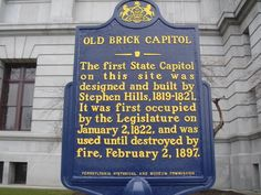 Old Brick Capitol - The first State Capitol on this site was designed and built by Stephen Hills, 1819-1821. It was first occupied by the Legislature on January 2, 1822, and was used until destroyed by fire, February 2, 1897.