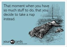 That moment when you have so much stuff to do, that you decide to take a nap instead.